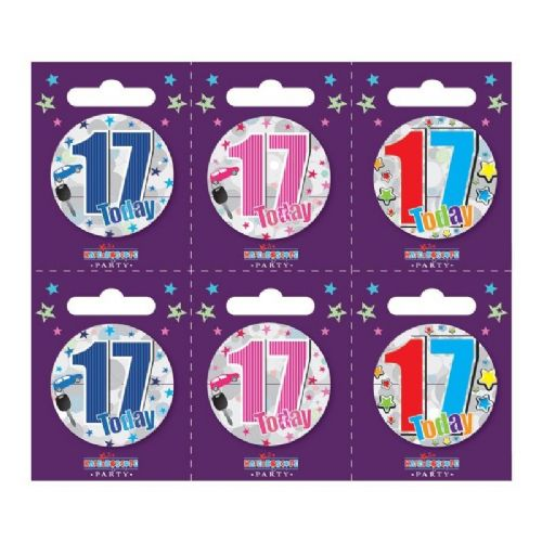 Age 17 Small Badges (6 assorted per perforated card) (5.5cm)